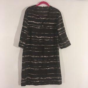 Vince Black White Silk Shift Dress S